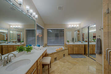 Large primary suite bath easily accommodates 2 for primping.