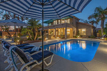 Inviting private pool can be heated during our cooler months for year round dips.