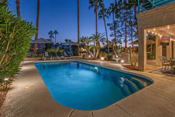 Enjoy a refreshing splash in the sparkling pool with option to heat for an additional fee.