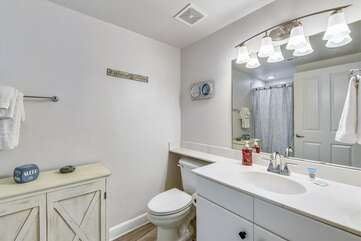 Bunk bathroom with standup shower