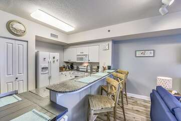 Fully stocked kitchen with Keurig machine