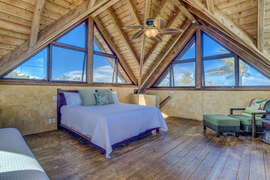 Third bedroom is on the upper level and has a king bed and a single bed
