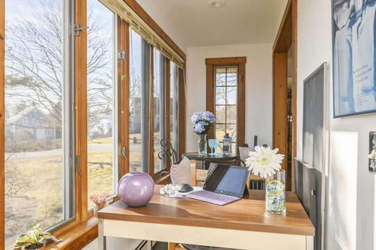 Side nook includes a lovely spot to get some work done or write postcards to friends! 67 The Cornfield Chatham Cape Cod - New England Vacation Rentals