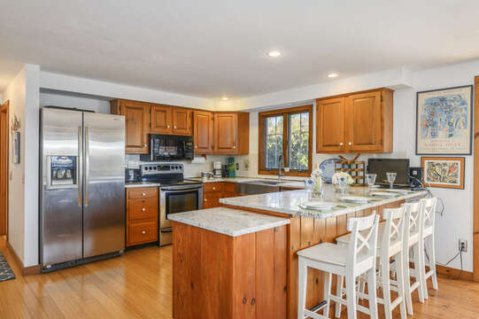 Well equipped kitchen-stainless appliances- small TV in Kitchen-67 The Cornfield Chatham Cape Cod - New England Vacation Rentals