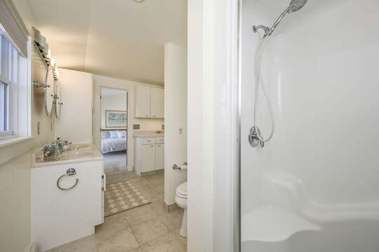 2nd floor bathroom with double sinks and shower-67 The Cornfield Chatham Cape Cod - New England Vacation Rentals