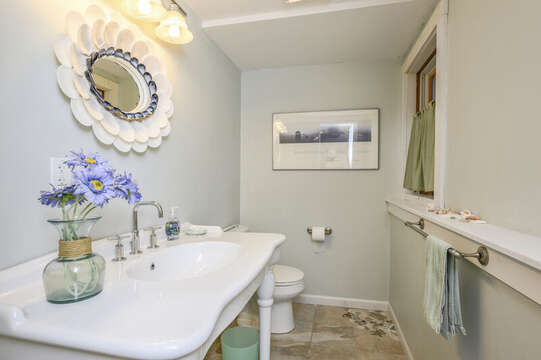 Half bath on the lower level-67 The Cornfield Chatham Cape Cod - New England Vacation Rentals