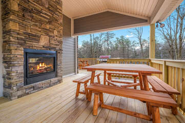 Deck with Seating and Fireplace at our Poconos Vacation Home