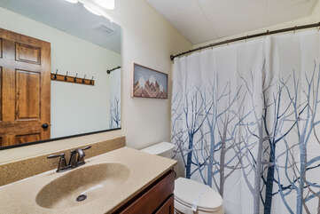 Bathroom with Sink, Toilet, and Shower with Winter Tree Curtain