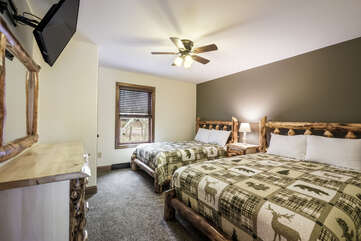 Large Bedroom with Two Elk Patterned Beds