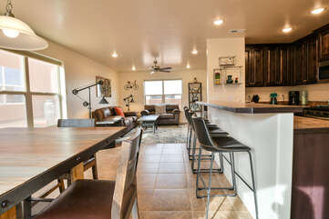 Kitchen, Dining, and Living Rooms