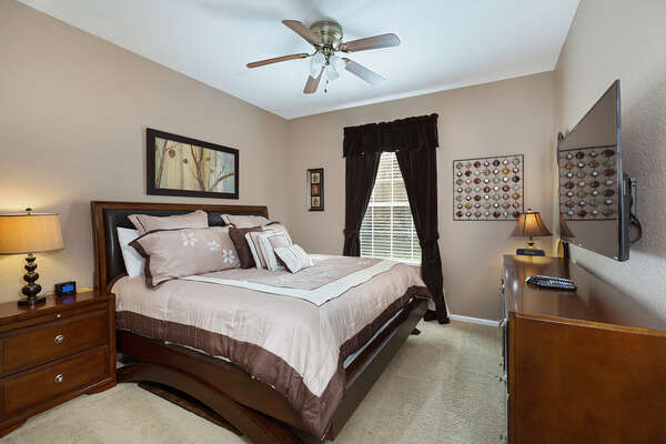Retreat to the master bedroom at the end of the day