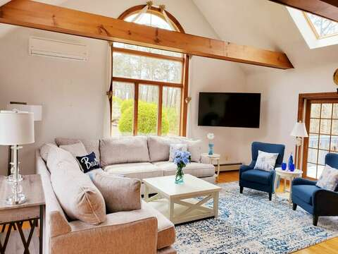 Recently updated living room with plenty of seating.  335 Meeting House Rd- Chatham- New England Vacation Rentals