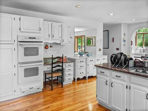 Recently refreshed kitchen with Double ovens and even a desk space for remote learning! 335 Meeting House Rd- Chatham- New England Vacation Rentals