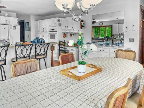 Open concept dining and kitchen at-335 Meeting House Rd- Chatham- New England Vacation Rentals