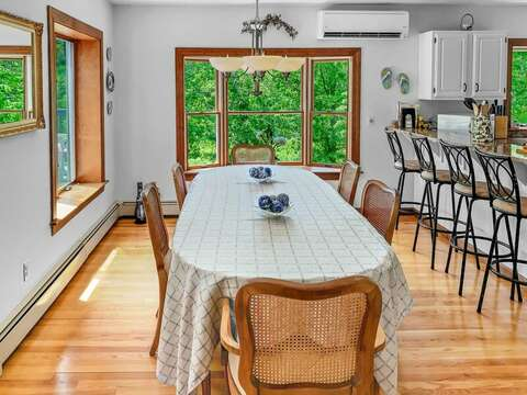 Seating for 6 and 4 at the bar in the dining area. 335 Meeting House Rd- Chatham- New England Vacation Rentals