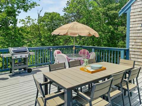 Grill and plenty of deck seating at-335 Meeting House Rd- Chatham- New England Vacation Rentals