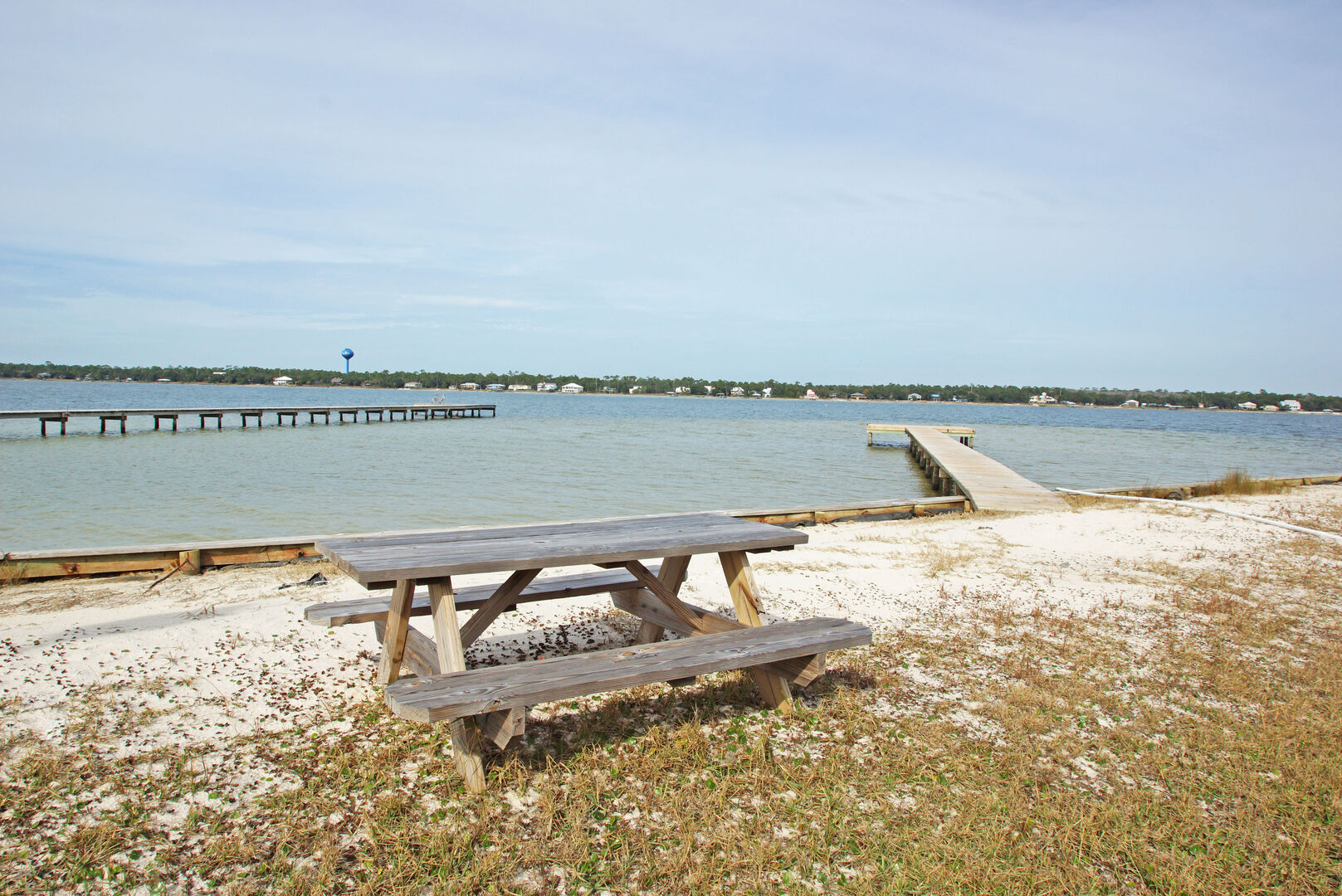 The Pier on the Lagoon, and a Picnic Table.