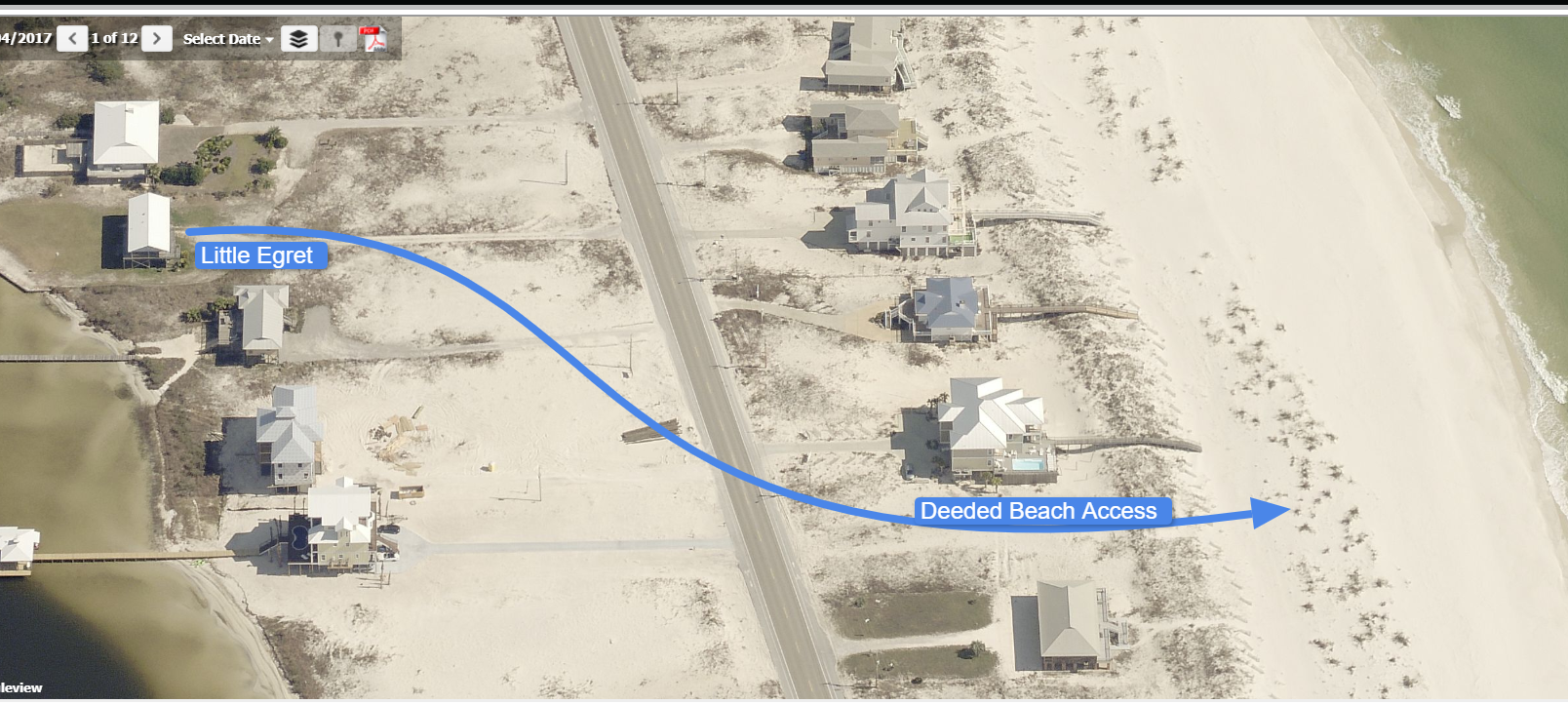 Aerial Picture of the Beach Access from our House.
