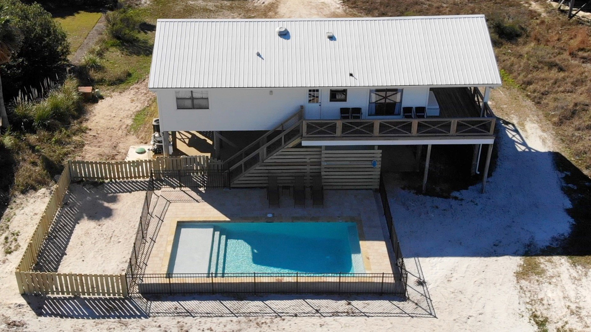 Aerial Picture of our Gulf Shores House Rental with Pool.