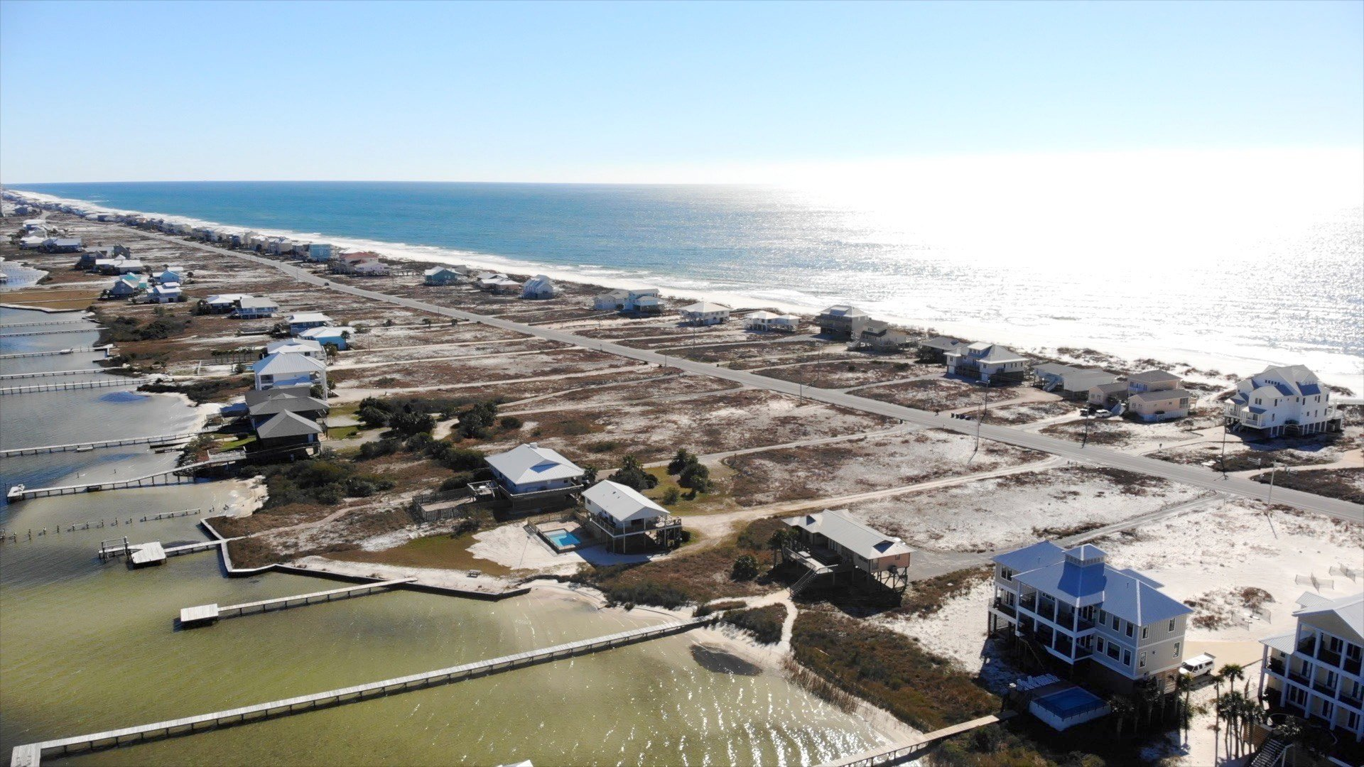 Aerial Picture of our House Rental with Pool, the Lagoon, and the Ocean.