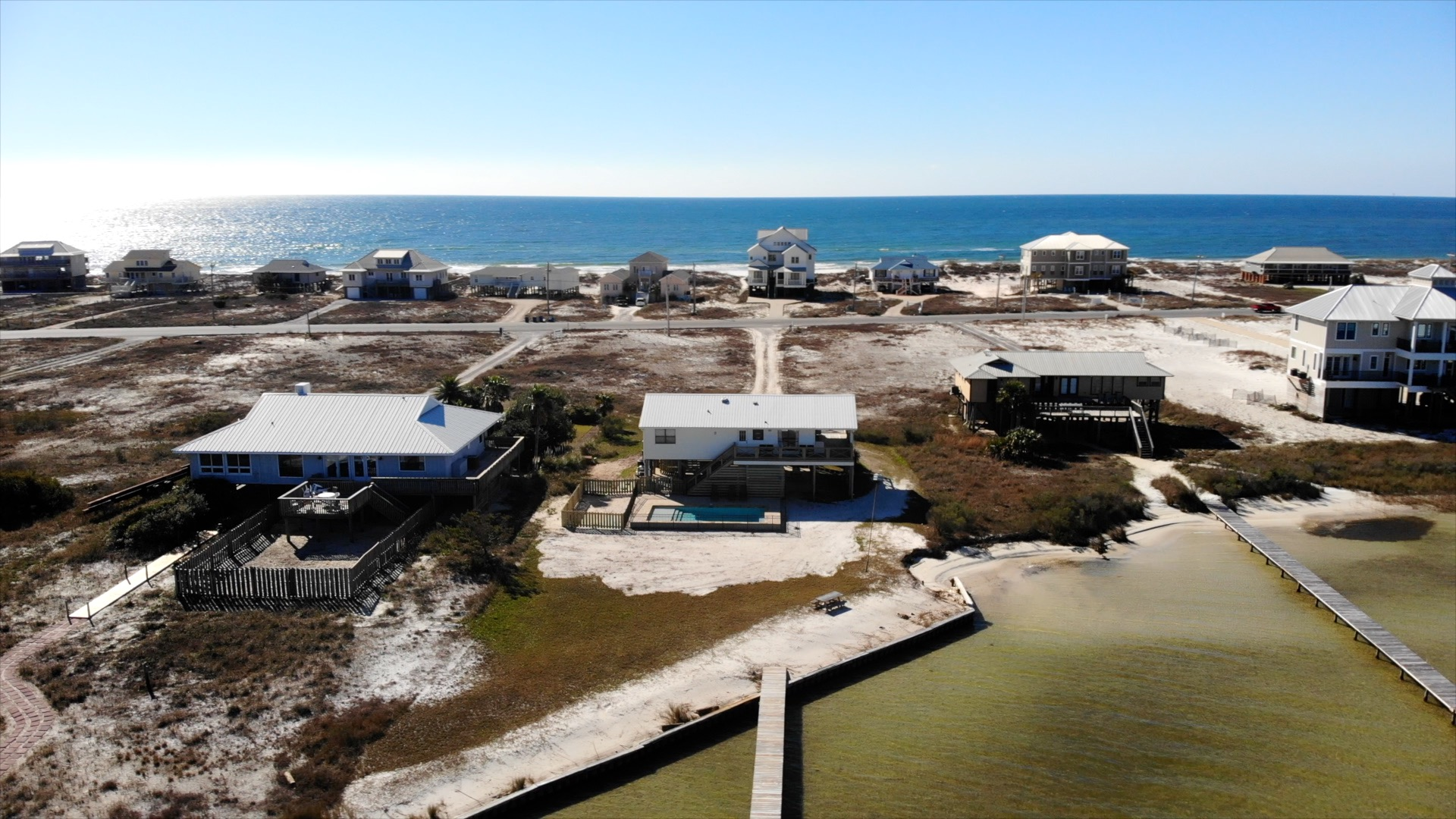Aerial Picture of our House Rental with Pool and a View of the Ocean.