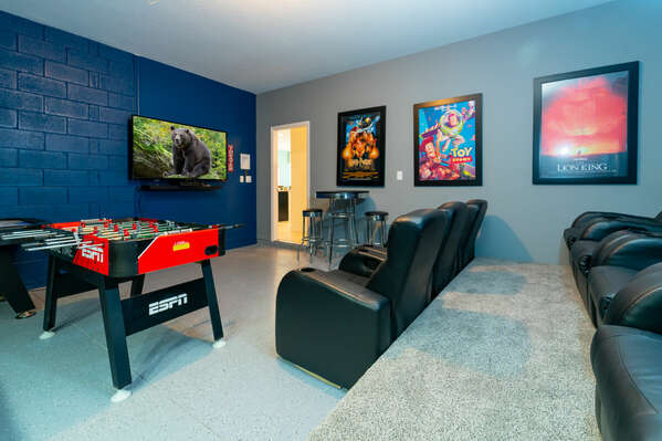 Garage converted to movie theater and games room