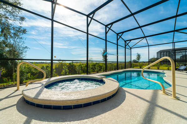 Pool with wide grassy area behind