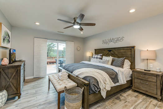 Master Bedroom with a King Bed, Smart TV and Patio Access