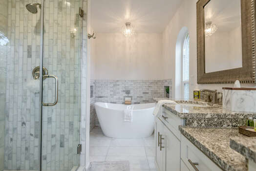Master Bath with Dual Granite Counter Sinks, Soaking Tub and Separate Shower