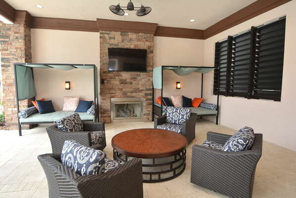 On-site facilities:- Outdoor seating area with TV and fireplace
