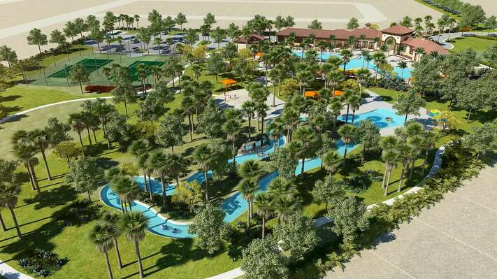 On-site facilities:- Drone shot of lazy river