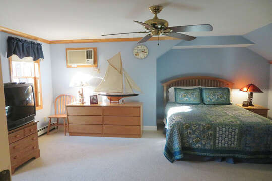 Bedroom also offers TV and A/C along with ceiling fan-- 209 Indian Hill Road Chatham Cape Cod New England Vacation Rentals