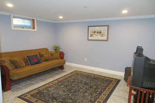 Another view of Tv room on lower level-- 209 Indian Hill Road Chatham Cape Cod New England Vacation Rentals