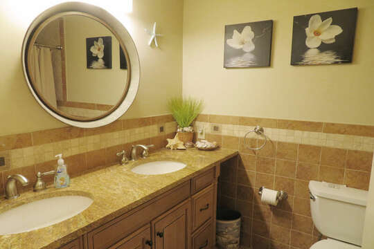 Full bath off hall on 1st floor- 209 Indian Hill Road Chatham Cape Cod New England Vacation Rentals