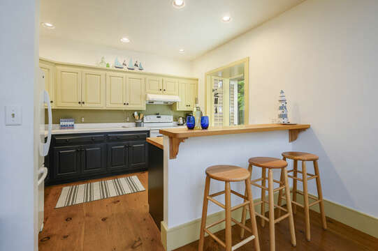 Kitchen with breakfast bar seating for 3- 9 Reliance Way Harwich Cape Cod - New England Vacation Rentals