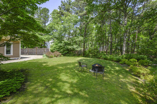 Backyard View with Firepit- 9 Reliance Way Harwich Cape Cod - New England Vacation Rentals