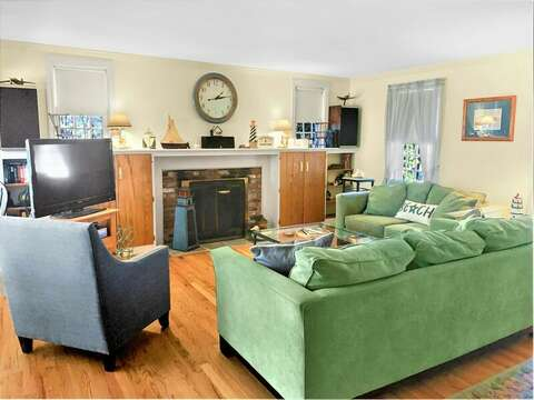 Living room with large flat screen TV -- 209 Indian Hill Road Chatham Cape Cod New England Vacation Rentals