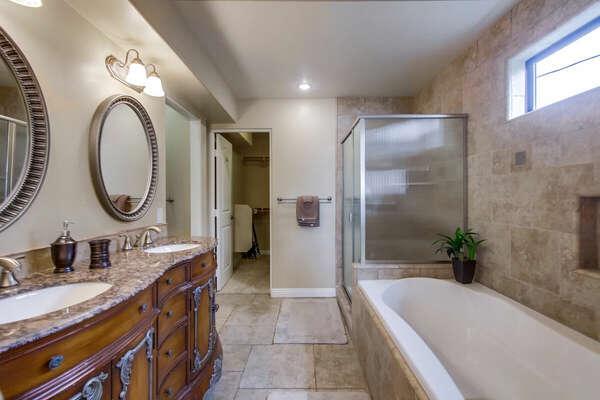 Master Ensuite Bath, Dual Vanities, Large Tub, Separate Shower and Walk-In Closet