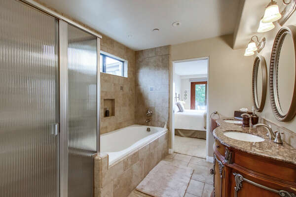 Ensuite Master Bathroom with Large Tub, Separate Shower and Dual Vanities