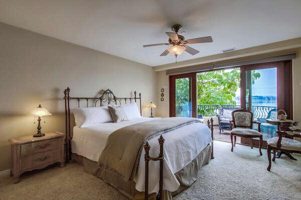 Master Bedroom, King with En Suite Bathroom, TV, Bay Views and Entrance to Deck