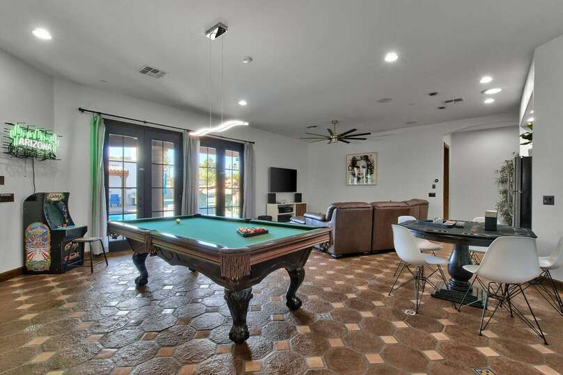 Game Room with Regulation Pool Table and Arcade