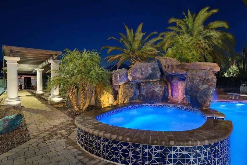 Hot Tub and Waterfall outside our Vacation Rental in Scottsdale Arizona