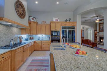 Modern kitchen is well organized and spacious enough for several cooks