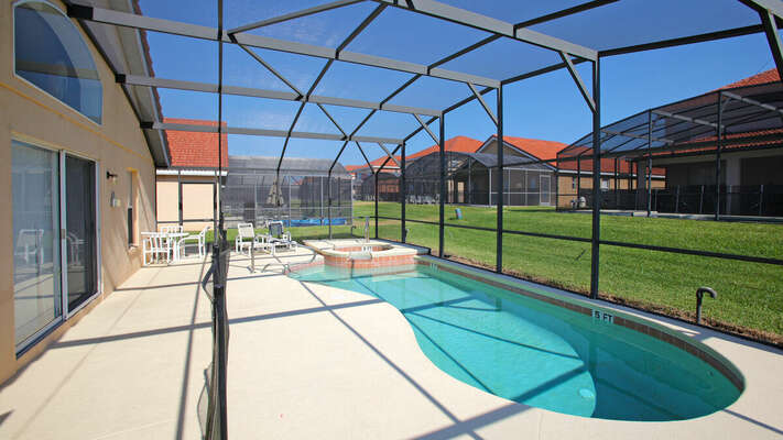 Pool area with baby safety fence in place