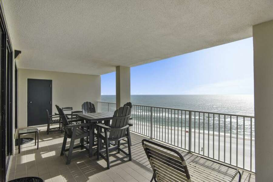 Large Patio overlooking the Gulf of Mexico with Ample Seating for Dining and Relaxing