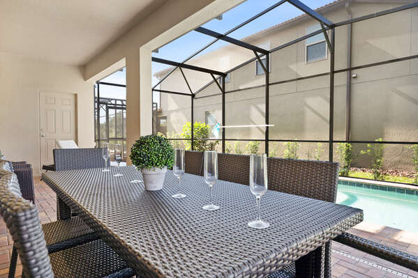 Have lunch outside with seating for 8