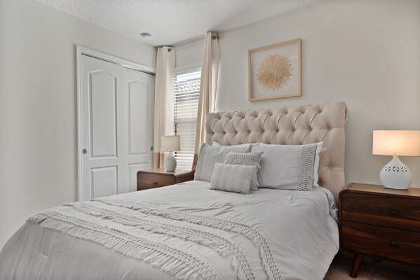 Have sweet dreams in this full-sized bed