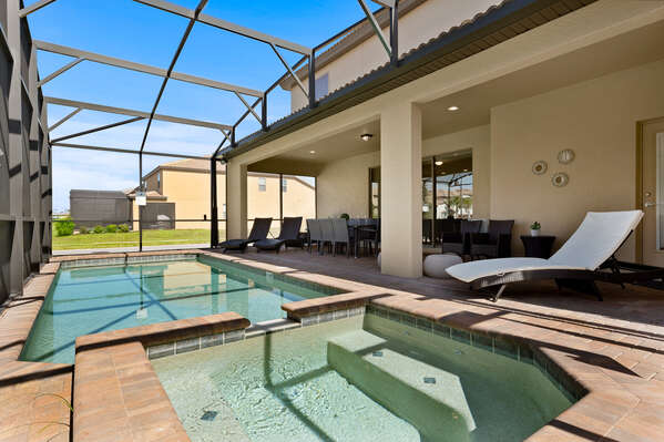 Go for a swim or unwind in the spillover spa