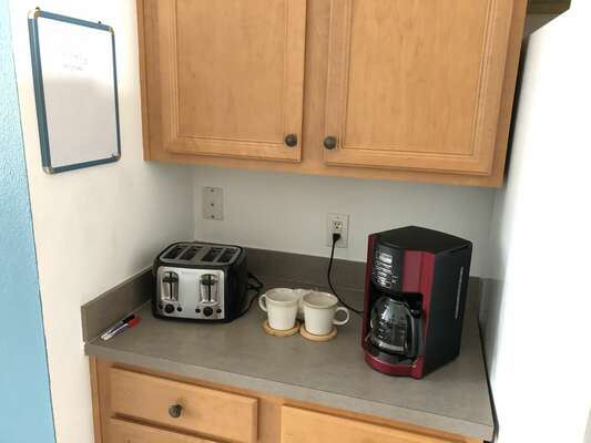 Enjoy a fresh cup of coffee and a slice of toast in the morning