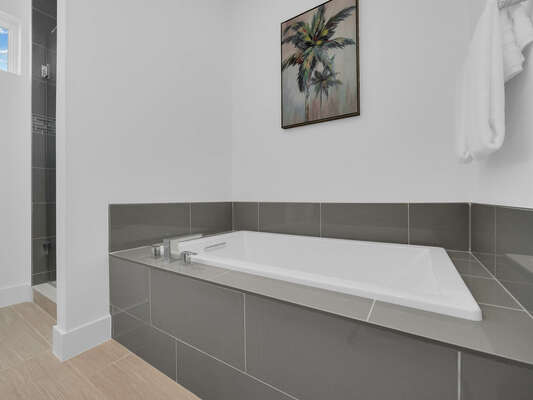 Relax after a day of fun in the garden tub
